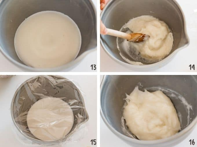 4 photos showing microwaved rice flour being stirred with a wooden spatula