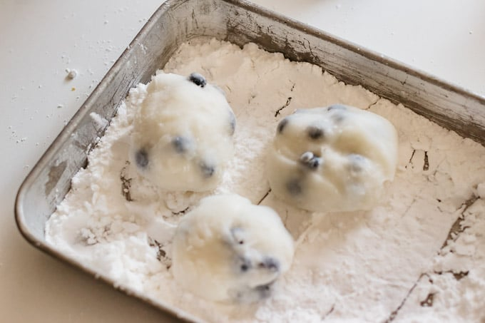 mochi dough divided into three