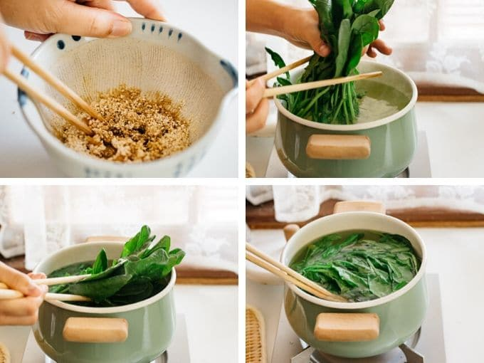 four photos showing how to parboil spinach