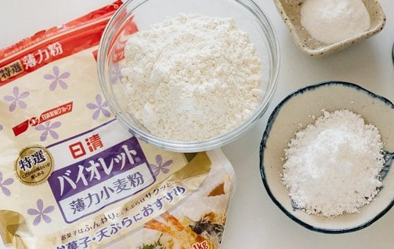 Nisshin brand flour package with flour in a bowl