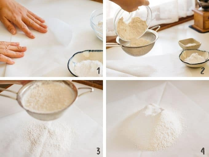 4 photos showing combining ingredients