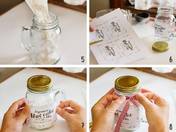 Step by step photos 2 putting mix into a jar and stick label and a ribbon