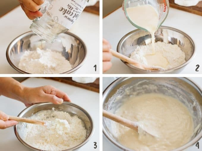 Step by step combining the mix and milk, egg and yoghurt to make hot cake batter