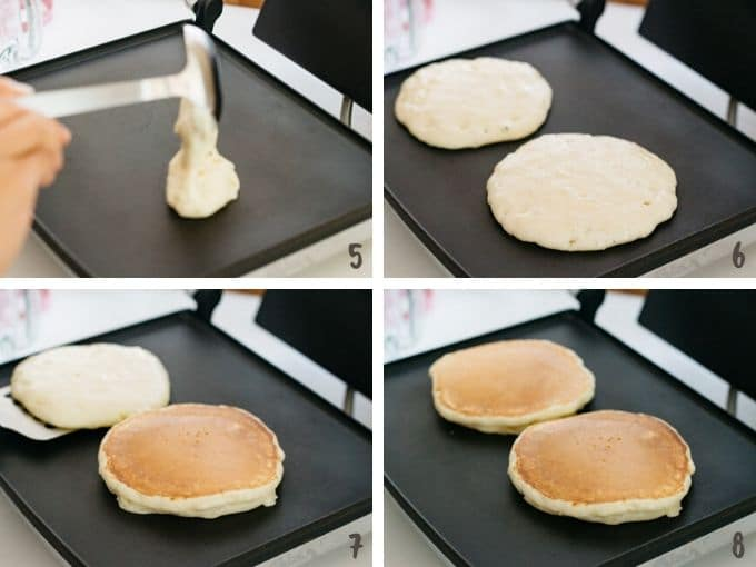 Cooking hot cake on a sandwich maker