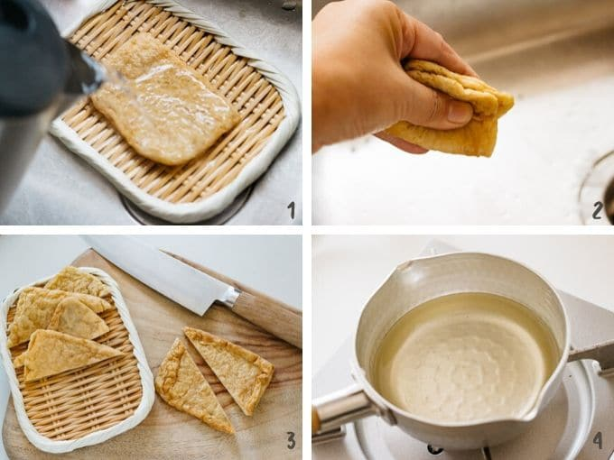 showing preparing deep fried tofu for topping in 4 photos