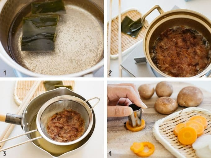 4 photos showing how to make dashi stock for Ozoni mochi soup