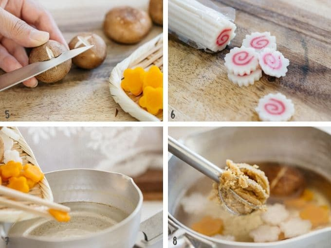 four photos showing how to cut each ingredients and adding miso to the soup