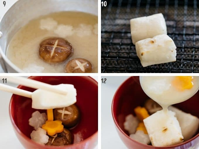 4 photos showing grilling mochi cake and add to the soup of miso soup