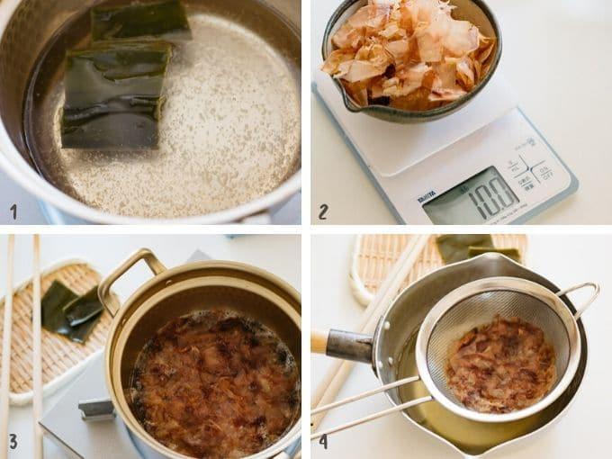 Four photos showing how to make dashi stock for ozoni