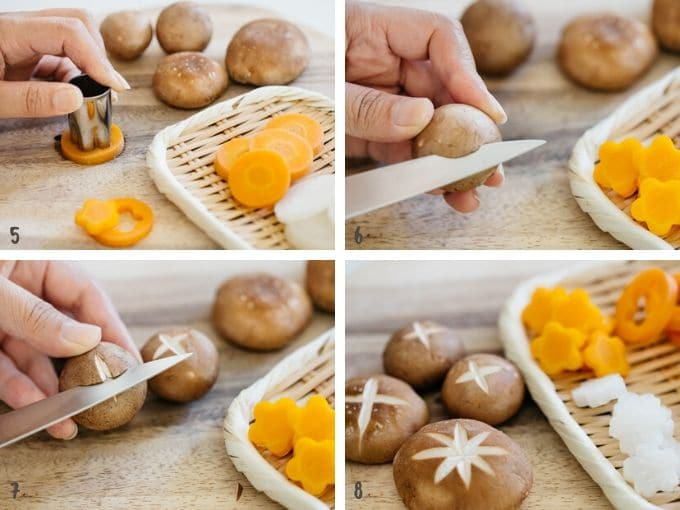 how to cut carrots, daikon and shiitake mushroom into flower shape in 4 photos