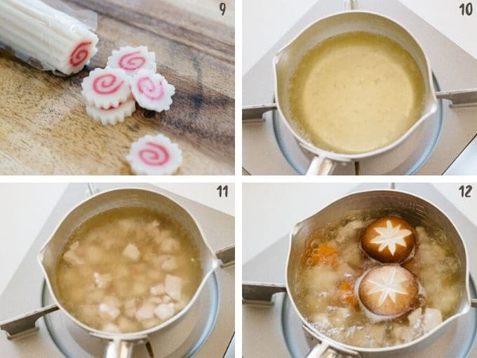 Cutting naruto and cooking chicken and vegetables in dashi stock in four photos