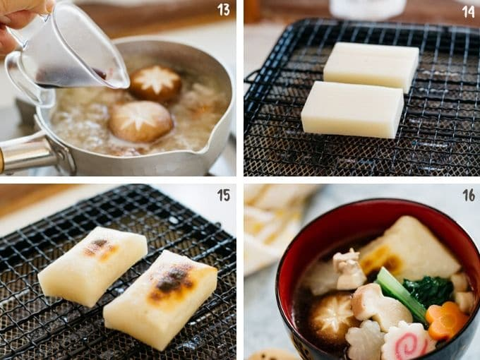 grilling mochi cake and assemble all together into a Japanese lacquered soup bowl