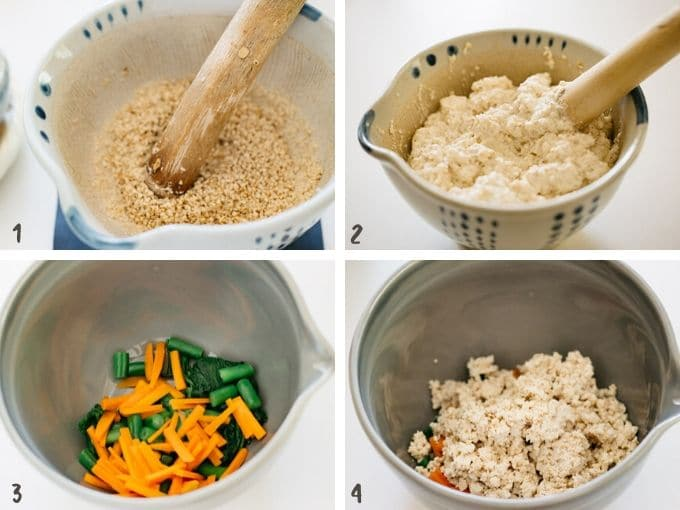 4 photos collage showing how to grind sesame seeds, mashing tosu, and combine them all together with vegetables.