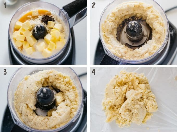 combining all ingredients in a food processor in 4 photos