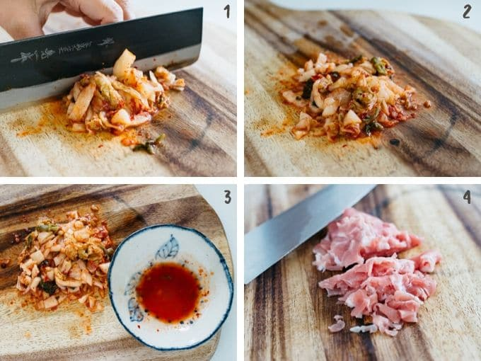 4 photos showing chopping up kimchi and pork