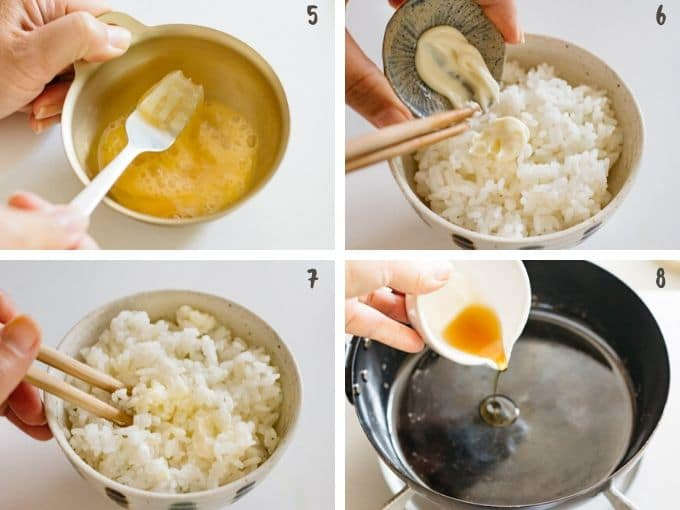 4 photos showing beating an egg, mixing mayonnaise into a bowl of rice and adding sesame seeds oil into a frying pan