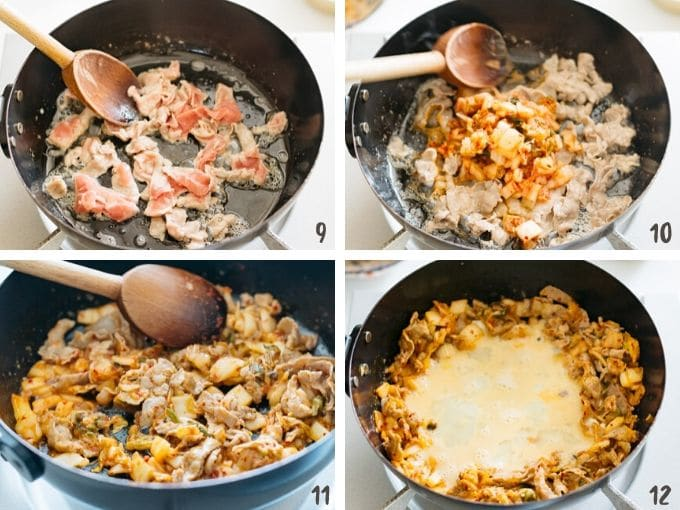 4 photos showing frying pork meat, adding kimchi to fry, and adding egg to fry all together.