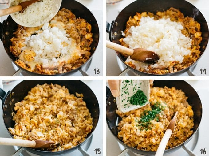 4 photos showing adding rice, chinese chives, and sesame seeds and frying in a frying pan