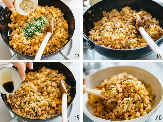 4 photos showing adding sesame seeds, and soy sauce to combine all together and serving into a shallow bowl.
