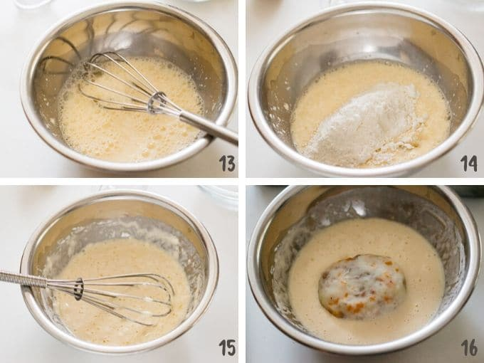 coating mashed and shaped potatoes with the batter in 4 photos
