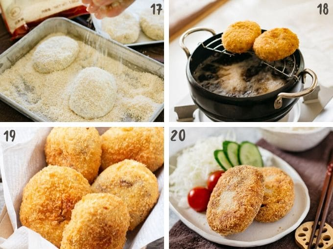 deep frying korokke and serving suggestion in 4 photos