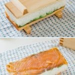 two photos collage; pressed sushi on a form with lid above, the lid removed photo below.