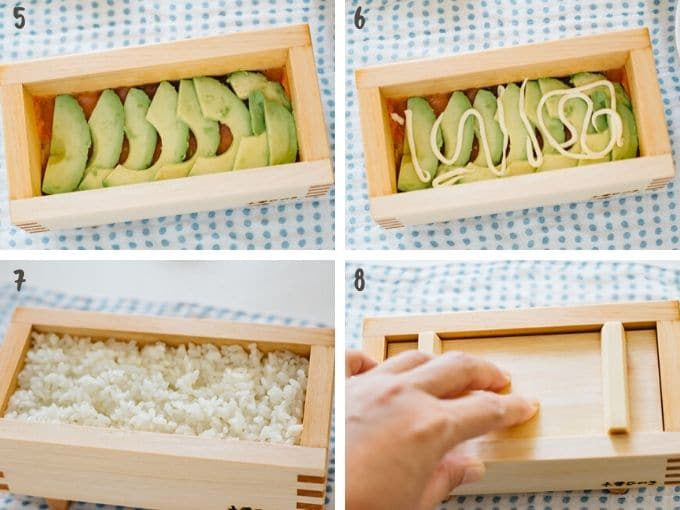 4 photos showing layering pressed sushi ingredients into the pressing box
