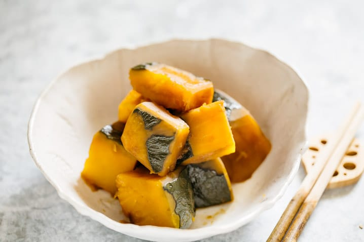 simmered kabocha squash served in a bowl