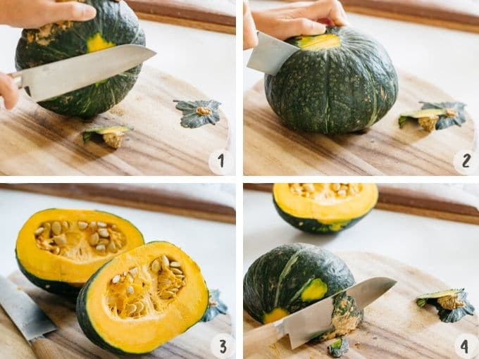 4 photos collage showing how to cut kabocha squash