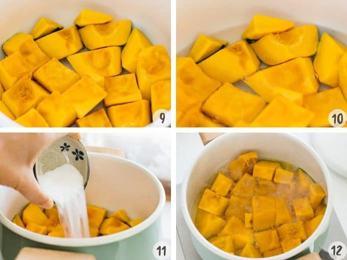 4 photos of step by step. laying cut  squash in a simmering pot and adding water and sugar