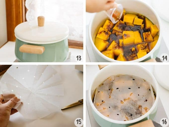 step by step photo collage of 4. simmered squash and adding soy sauce and using a drop lid