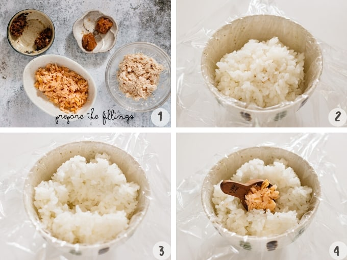 Onigiri recipe process rice in a rice bowl with cling wrap lined
