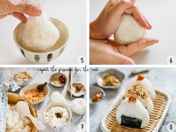 shaping onigiri rice balls with free hands