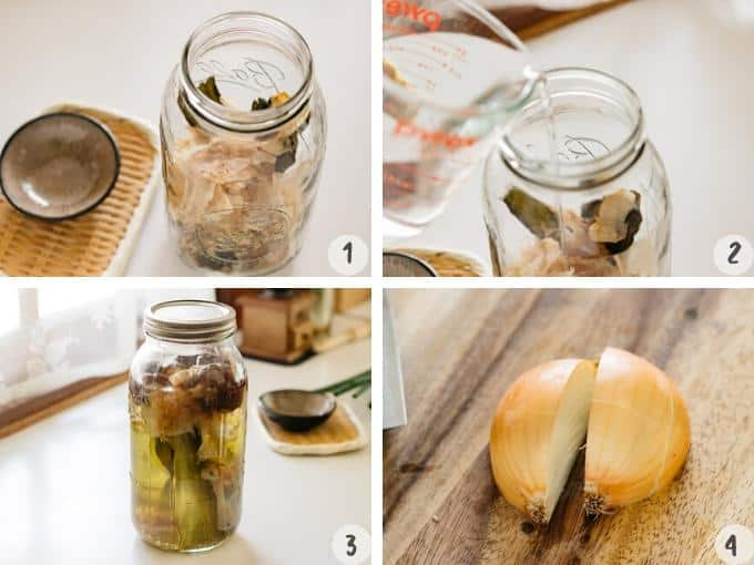 4 photos showing how to soak all dashi ingredients and quartered onion