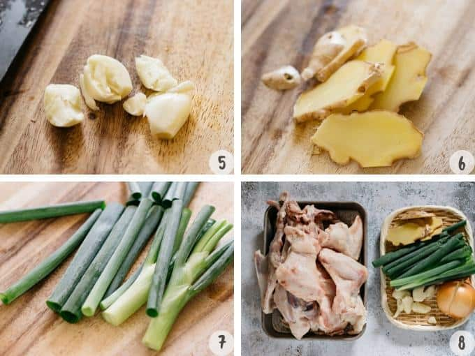 smashed garlic, sliced ginger, scallions on chopping board