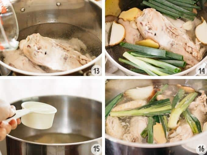 4 photos showing process of adding all ramen broth ingredients into a large pot