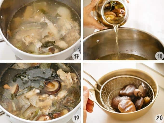 4 photos collage showing steps of adding dashi stock to the chicken broth