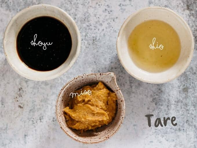 three types of tare in bowls shoyu, shio and miso