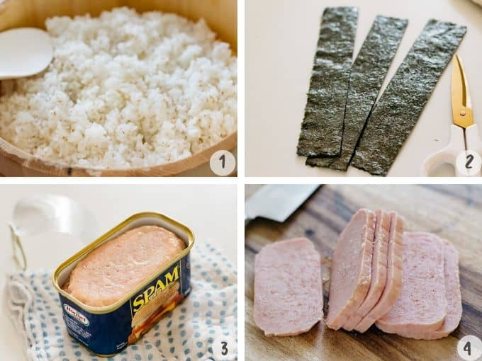 4 photo collage showing rice in bamboo tub, Nori sheets cut, spam in a tin, and sliced spam on a chopping board