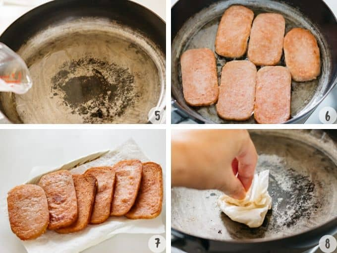 4 photos showing process of frying spam in a frying pan