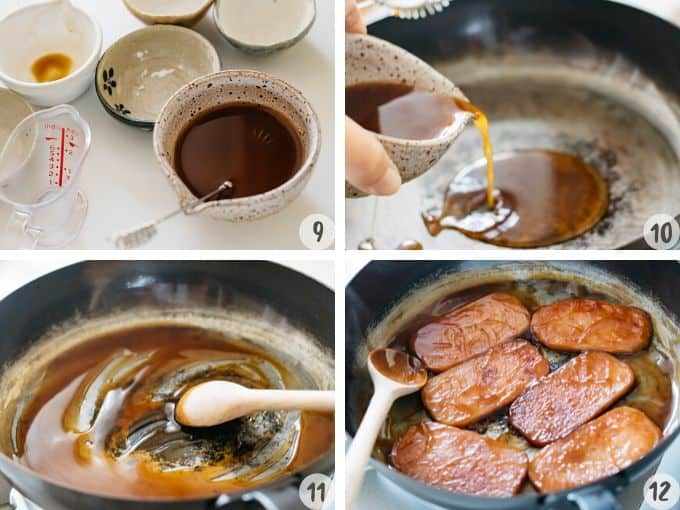 4 photos showing mixing all sauce ingredients, adding it to a clean frying pan, coat it to slices of cooked spam