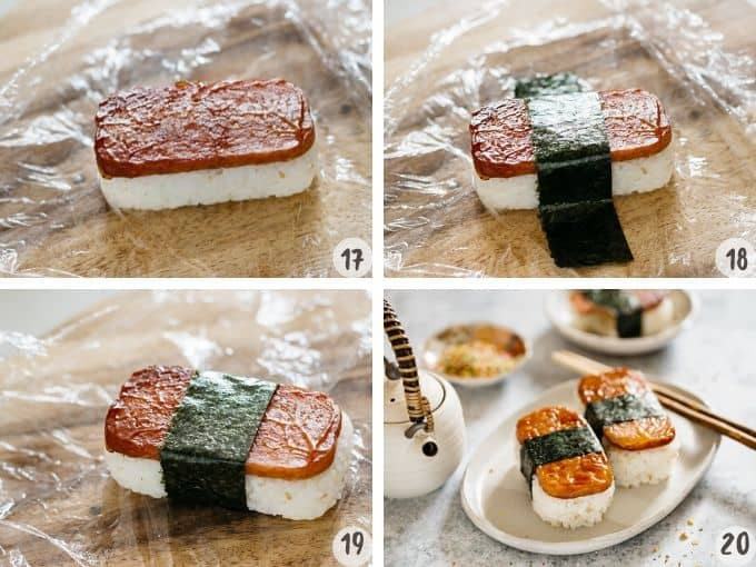 4 photos collage showing putting spam on rice ball and wrapping nori strip around