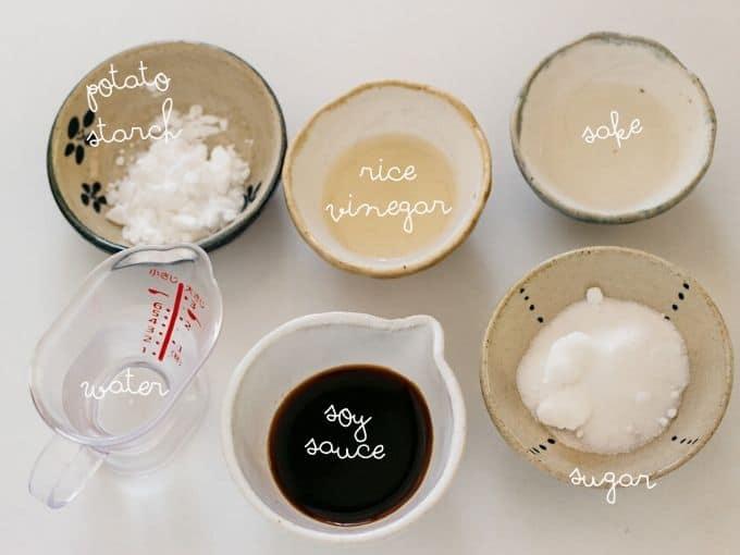 potato starch, sake, soy sauce, rice vinegar, sugar and water
