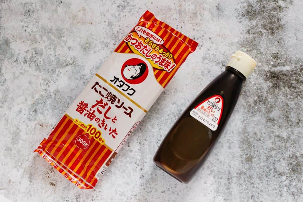 takoyaki sauce bottle on the right and package on the left
