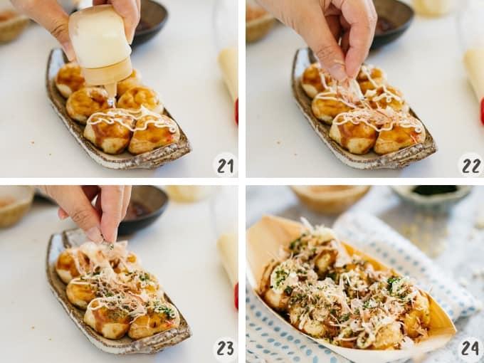 serving and sprinkling toppings over takoyaki balls