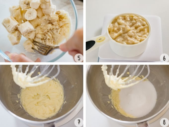 mashing bananas with a folk and beating butter and adding sugar into a stand mixer bowl
