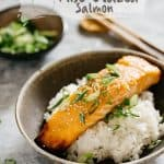 Miso Glazed Salmon served on bed of plain cooked rice in a bowl