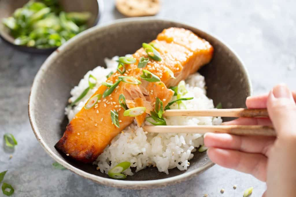miso glazed salmon served on bed of plain cooked rice