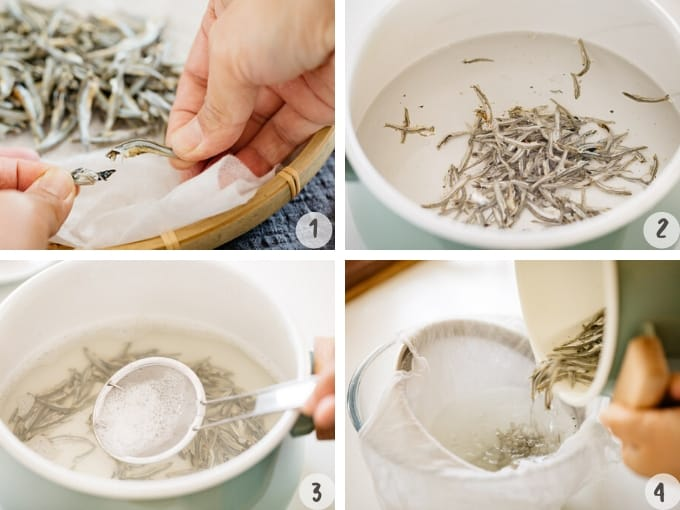 Niboshi dashi steep and simmer method step by step in 4 photos