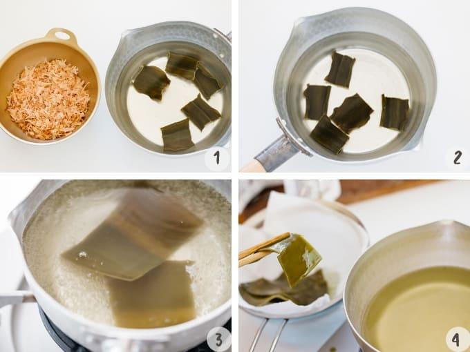 Ichiban dashi making process in 4 photos, steeping, cooking and removing konbu kelp